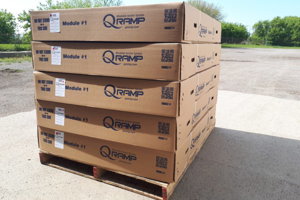 Full pallet of QRamps boxed and ready to ship out