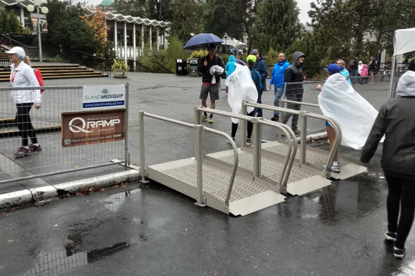 The Good Life Fitness marathon in Victoria, British Columbia, Canada October 7.  We are proud to have supplied three of our ramps to be used and remained non-slip and safety despite the rainy weather