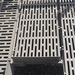 Close up view of the ThruFlow decking used in QRamp. We have exclusive use of this ultimate surface ensuring your safety.