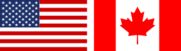 Canadian Flag, and United States of America Flag